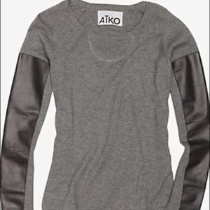 Aiko for intermix leather sleeve sweater